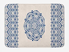 Funny Bath Mat Coral Fleece with Non Slip backing Rug for Bathroom Decor Bohemian Watercolor Art Style Folkloric Gypsy Motif Round Mandala Tribal Dark Blue and Cream Carpet for kids 16x24''