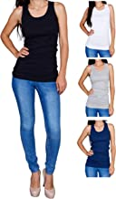 Emprella Womens Tank Tops, Basic Cotton Ribbed Racerback Tanktop (3 Pack) (Assortment 1)