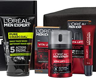 L'Oreal Paris Men Expert Vita Lift Kit, Pure Charcoal Face Wash, Anti Aging Face Cream With Pro Retinol + French Vine Extr...