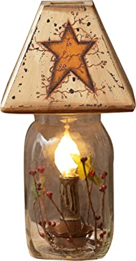 """Your Heart's Delight 5.25""""x11""""x5.25"""" Primitive Star Electrical Jar Light"""