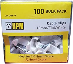HPM DQ110 13mm White Cable Clips Accessory - Cable clips Flat type - Pack of 100 13mm white