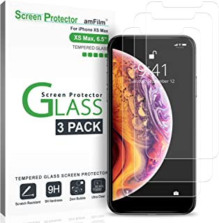 amFilm Screen Protector for iPhone XS Max (3 Pack), Tempered Glass Screen Protector with Easy Installation Tray for Apple iPhone 10S Max (6.5 Inches)