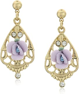 Gold-Tone Color Porcelain Rose with Crystal Accent Filigree Drop Earrings