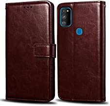 WOW Imagine Samsung Galaxy M30s Flip Case | Premium Leather Finish | Inside TPU with Card Pockets | Wallet Stand | Shock Proof | Magnetic Closure | 360 Degree Complete Protection Flip Cover for Samsung Galaxy M30s - Chesnut Brown