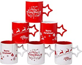 Set of 6 Christmas Coffee Mugs With Large-sized 14 Ounce Holiday Christmas Themes With Snowflake Star Handle