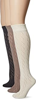 Muk Luks Women's 18'' Pointelle Knee High Socks Warm Pack, Multi, One Size (pack of 3)