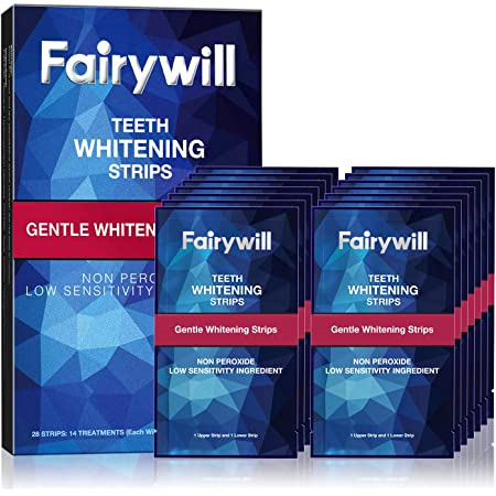 Fairywill Teeth Whitening Strips, Reduced Sensitive White Strips for Teeth Whitening, Zero Peroxide and Enamel Safe, Rapid White Teeth, Pack of 28 Teeth Whitener Strips(14 Set)