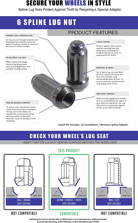 9//16, Black Wheel Accessories Parts Set of 20 1.9 Long Car Lug Nut Closed End Bulge Acorn Spline Lug Nuts Cone Seat Locking with Key