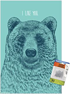 Rachel Caldwell - I Like You Bear Wall Poster with Push Pins