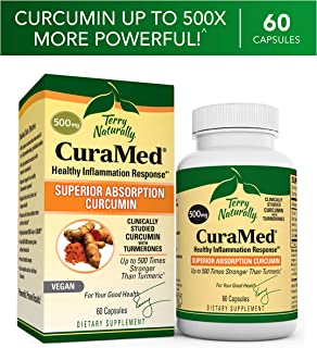 Terry Naturally CuraMed 500 mg Vegan - 60 Capsules - Superior Absorption BCM-95 Curcumin Supplement, Promotes Healthy Inflammation Response - Non-GMO, Gluten-Free, Halal - 60 Servings