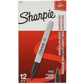 Sharpie Permanent Marker, Fine Point, Black (30101) (12 Markers)