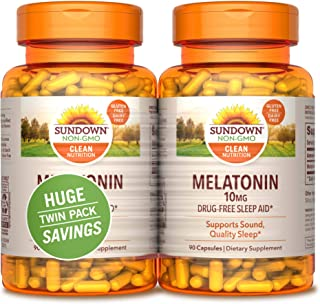 Sundown Melatonin 10mg 90 + 90 Twin Pack Nutritional Supplements, 180 Count