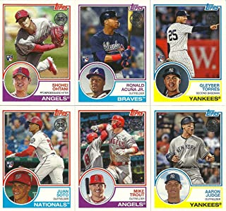 2018 Topps Update 1983 Series 50 Card Insert Set Including Stars and Rookies Aaron Judge, Mike Trout, Shohei Ohtani, Ronald Acuna, Gleyber Torres, Juan Soto Plus