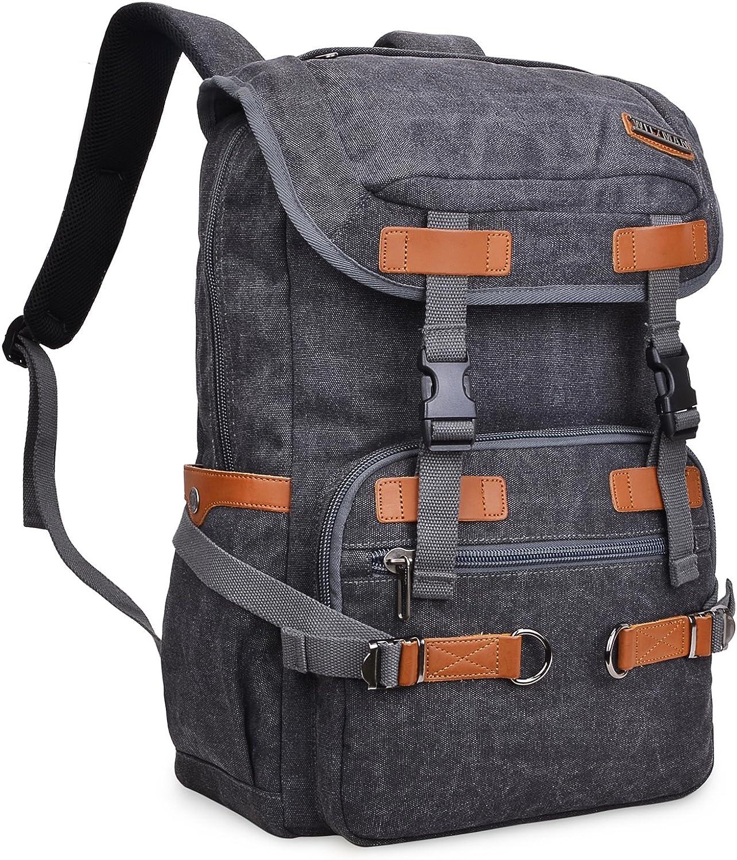 WITZMAN Leinwand Wandern Rucksack Reise Rucksack Laptop Tasche