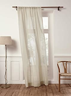 Solino Home 100% Pure Linen Sheer Curtain – 52 x 84 Inch Light Natural Rod Pocket Window Panel – Handcrafted from European Flax