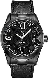 JBW Luxury Men's Bond 9 Diamonds Ostrich Embossed Pattern Leather Watch