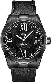 JBW Luxury Men's Bond 9 Diamonds Ostrich Embossed Pattern Leather Watch - J6372E