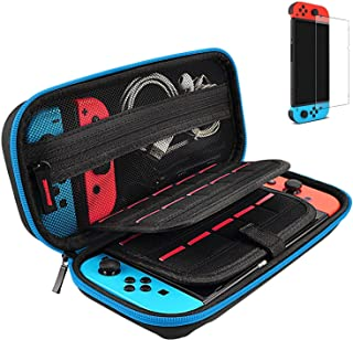Hestia Goods Switch Case and Tempered Glass Screen Protector for Nintendo Switch - Hard Shell Travel Carrying Case Pouch C...