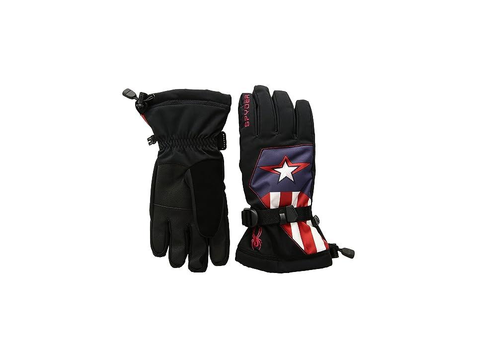 Spyder Kids Marvel Overweb Gloves (Little Kids/Big Kids) (Black/Captain America) Extreme Cold Weather Gloves
