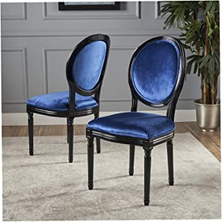 Wood & Style Furniture Camille Dining Chair Set, Navy Blue/Gloss Black Home Office Commerial Heavy Duty Strong Décor