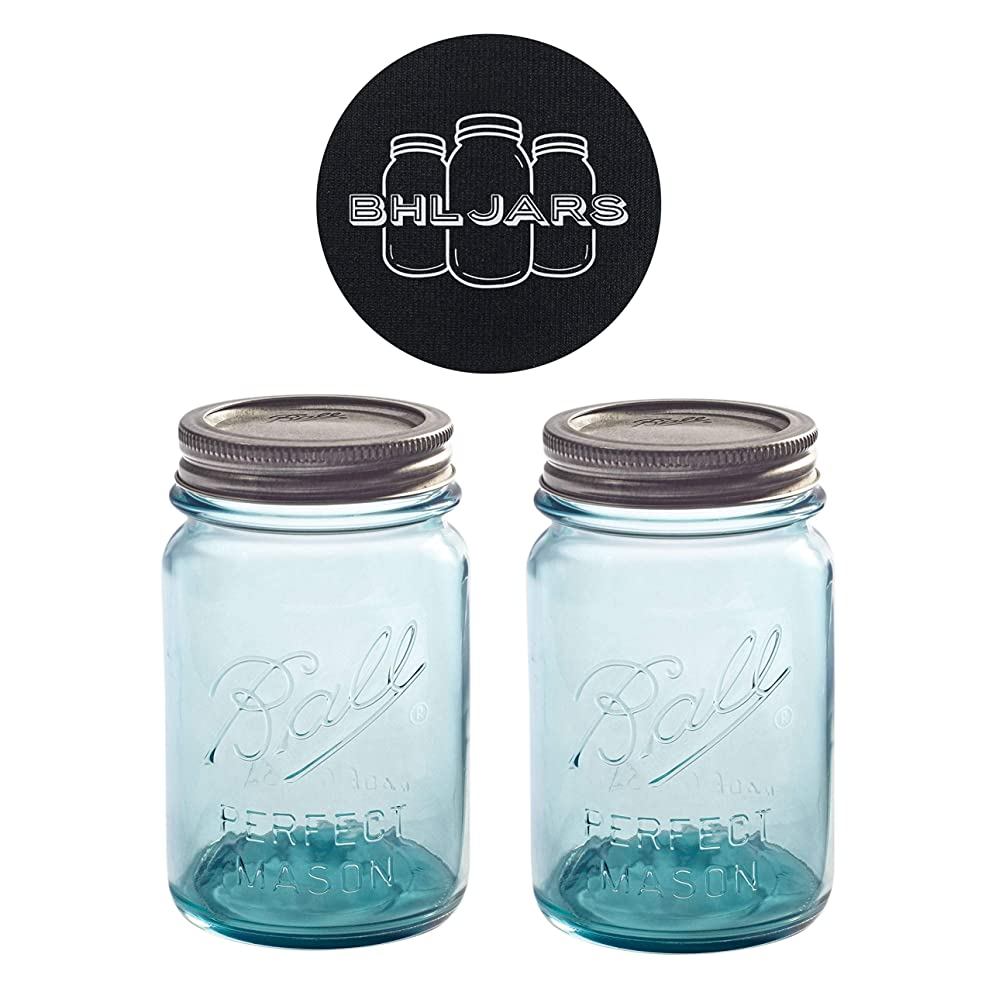 Ball Mason Jars 16 oz Regular Mouth Turquoise Colored Glass Bundle with Non Slip Jar Opener- Set of 2 Pint Size Mason Jars - Canning Glass Jars with Lids