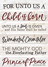 P. Graham Dunn for Unto Us A Child is Born White 23.5 x 17 Pine Wood Christmas Embellished Sign