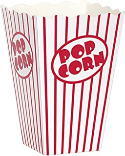 Unique Party Cardboard Popcorn Boxes (Pack of 10) (UK Size: One Size) (White/Red)