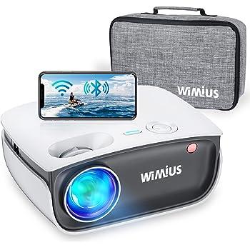 """Proiettore WiFi, WiMiUS S25 Bleutooth mini 5800 LED LCD Videoproiettore, Nativa 720P Home Cinema 200"""", Full HD 1080P Supporto Distorsione Correzione ±15°, per Fire TV Stick PS4 PC Tablet iPhone"""
