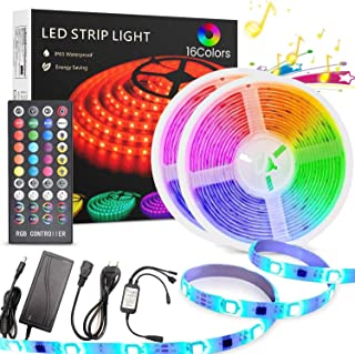 LED Strip Light 10M, TECHVIDA 32.8ft/10m 300 LEDs 16 Colors RGB SMD 5050 Strip Lights IP65 Waterproof Music Sync Rope Ligh...