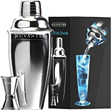 Nuvantee Cocktail Shaker Set - Stainless Steel Martini Shaker & Mixer w/ Built-In Strainer - Bonus Jigger & Recipe eBook Included, 24oz
