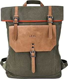 LEXS Laptop Backpack 15.6 inch Canvas Leather Rucksack Slim Water Resistant Work School Bag