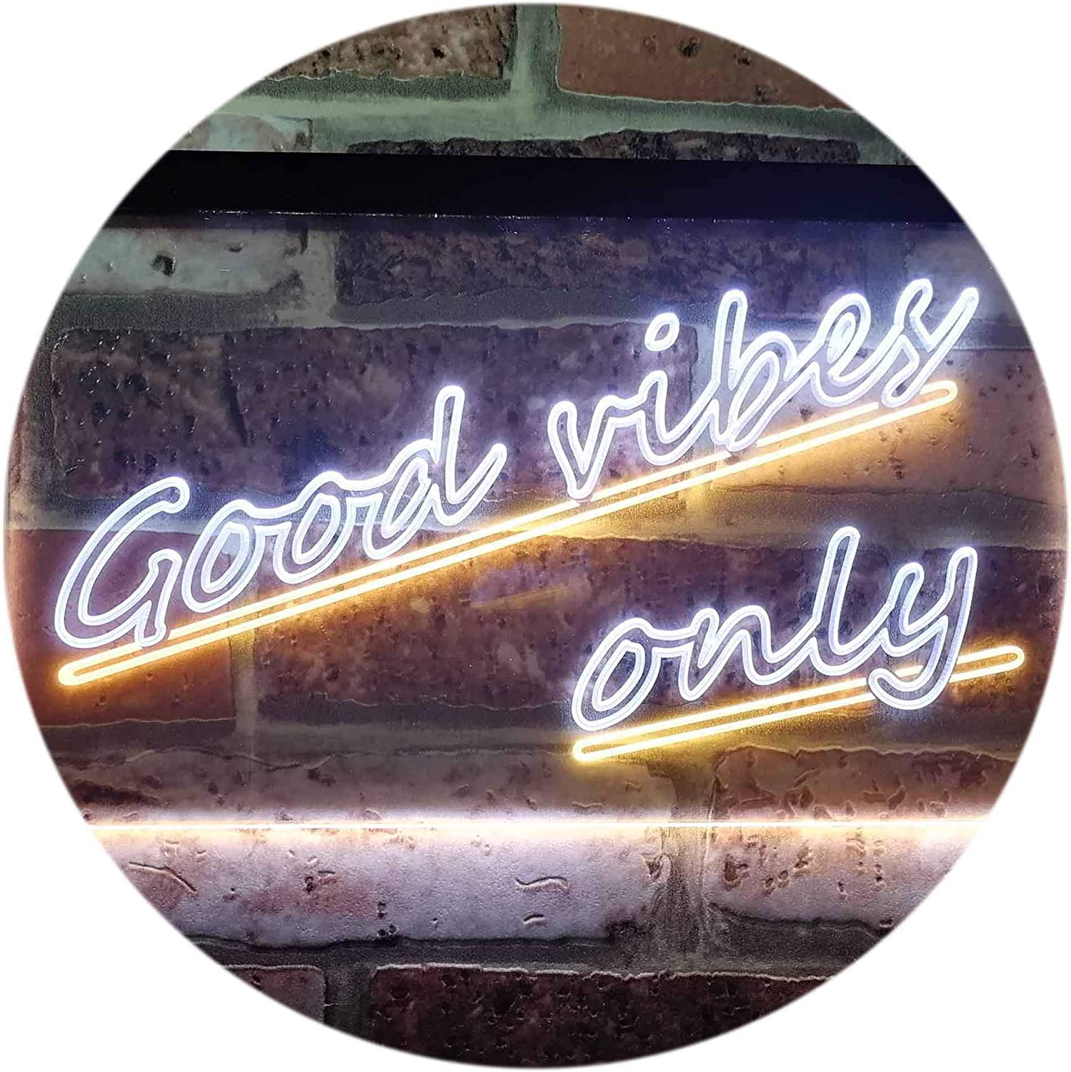 ADVPRO Good Vibes Only Wall Plaque Night Light Dual Farbe LED Barlicht Neonlicht Lichtwerbung Neon Sign Weiß & Gelb 16  x 12  st6s43-i1077-wy