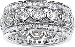 Platinum over Sterling Silver Round Cubic Zirconia Bezel Set Triple Row Eternity Ring