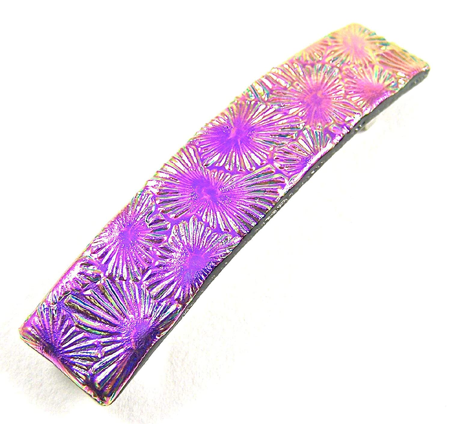 Dichroic Glass Hair Barrette - Fixed price for sale Magenta Inexpensive 3.5