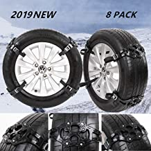 "JOJOMARK Tire Chains Snow Chains for Cars/SUV/Truck/ATV Anti-Skip for Safety Emergency Ice Snow Mud Sand with 2019 Upgrade TPU Width 6.5""-10.8""(165mm-275mm)(8 Pack)"