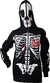 Women Full Face Mask Skeleton Skull Hoodie Sweatshirt Halloween Costume Hoodie