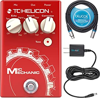 TC Helicon Mic Mechanic 2 Vocal Effects Pedal Bundle with Blucoil Slim 9V Power Supply AC...