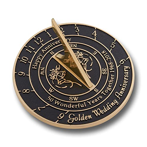 The Metal Foundry 50th Golden Wedding Anniversary 2018 Sundial Gift Idea is A Great Present for