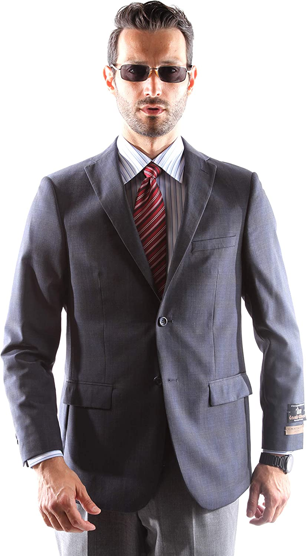 Prontomoda Men's 2 Button Luxury 100% Lamp Wool Blue Sport Coat 40L
