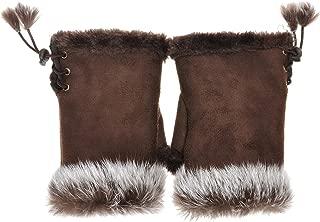Women Teen Classic Winter Warm Rabbit Fur Hands Wrist Fingerless Gloves Mittens