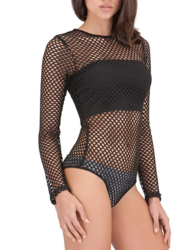 May&Maya Women's Networking Potential Sheer Bodysuit