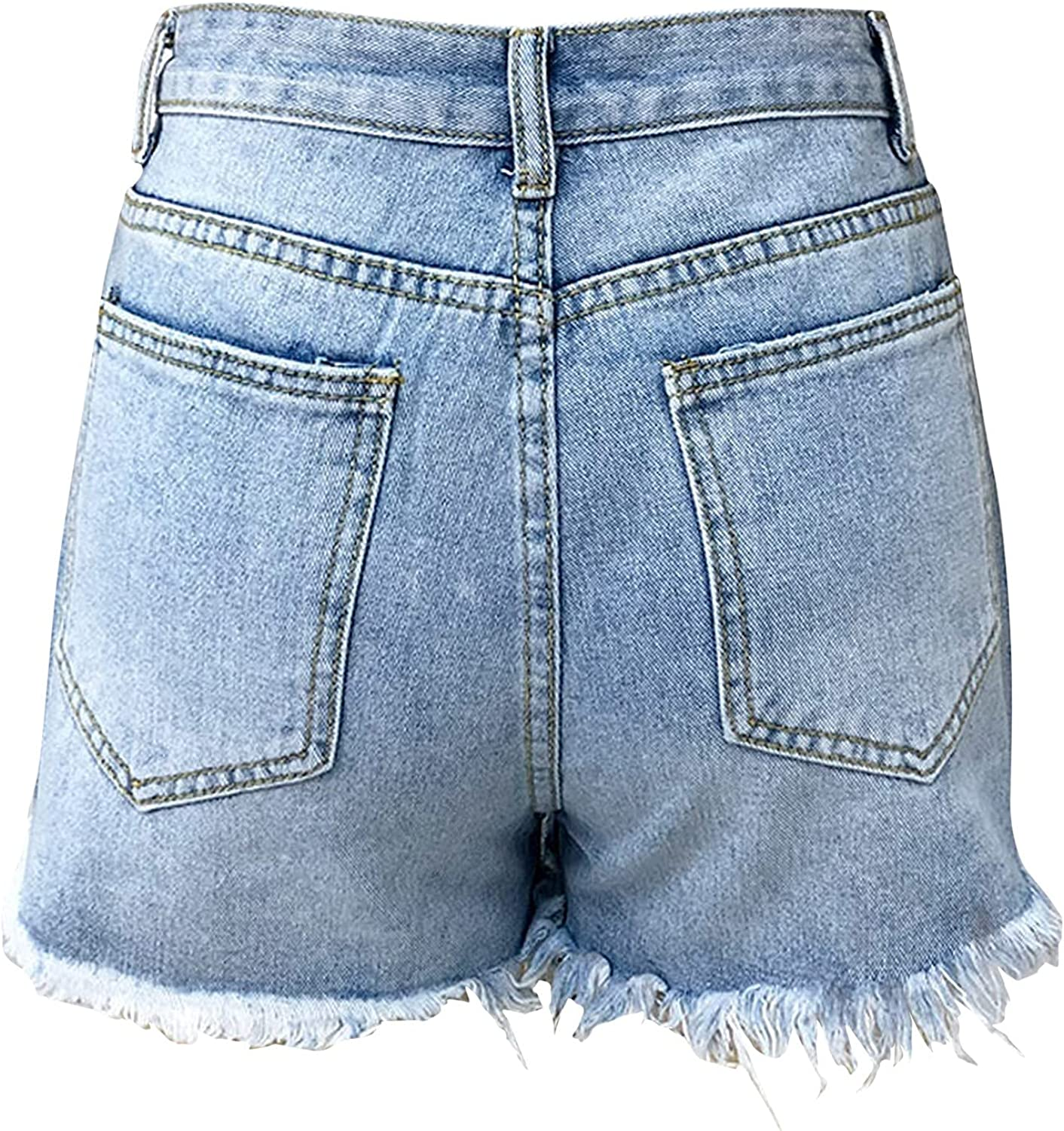 Women's Denim Shorts Summer Casual Low Waisted Frayed Shorts Sexy Buttocks New Hole Tassel Trimming Short Jeans