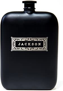 Swanky Badger Personalized Hip Flask, Stainless Steel Flask, Matte Black Coating, Includes Funnel, 7oz (200ml) Perfect Men's Gift, Father's Day Gift or Groomsmen Gift (Classic - Front Engraved)
