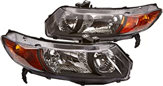 Spec-D Tuning 2LH-CV062JM-RS Honda Civic 2Dr Black Jdm Headlights Head Lamps Left+Right
