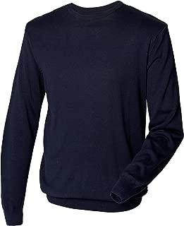 Mens Crew Neck 12 Gauge Fine Knit Jumper/Sweatshirt