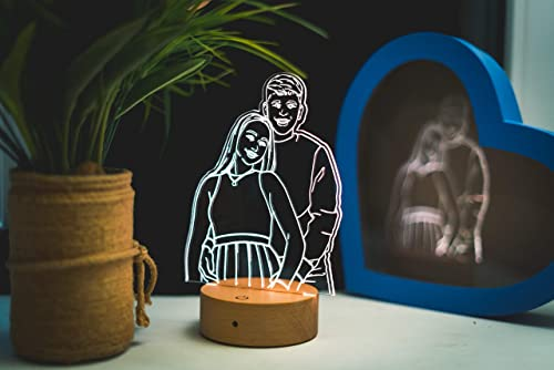 discount Personalized Photo Night Light, 3D Custom LED Acrylic high quality Edge Lit Lamp, Picture Night USB Light, Wood Base Engraved Lamp, Photo outlet sale Engraving Lamp, Birthday, Anniversary, Christmas, Valentine's Day Gift online sale