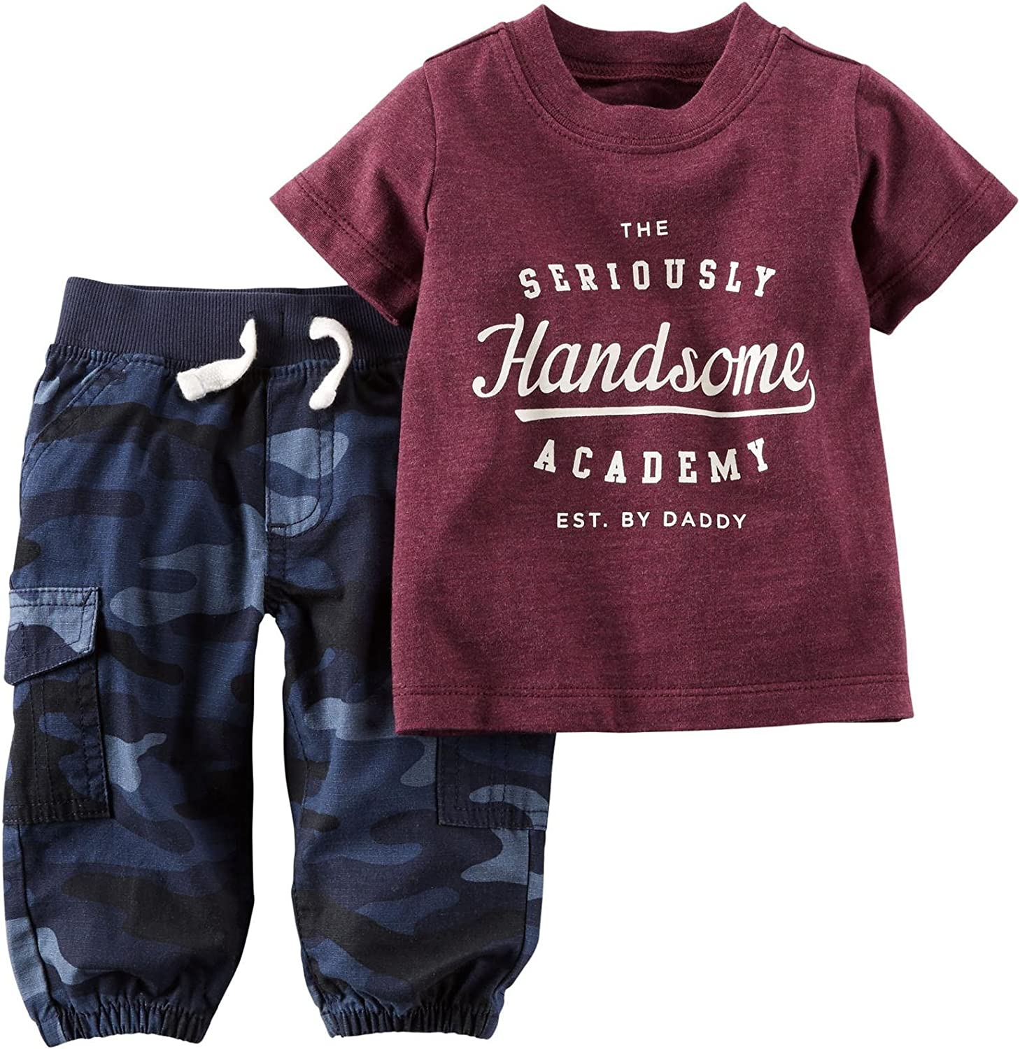 Carter's Baby Boys' 2 Piece Graphic Tee Set (Baby) - Handsome - 3 Months