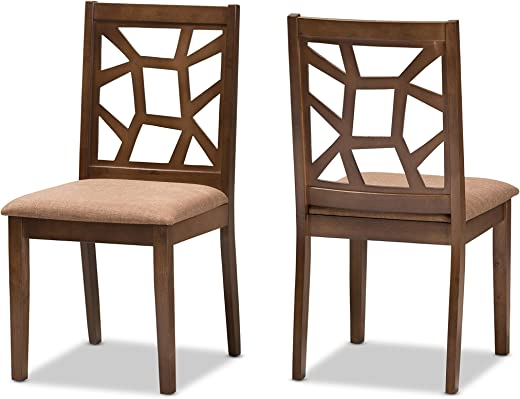 B078FBYJBR✅Baxton Studio Pamina Mid-Century Light Brown Fabric Upholstered and Walnut Brown Finished Dining Chair