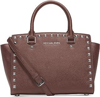 Michael Kors Selma Stud Medium Top Zip Satchel Handbag in Dusty Rose Silver
