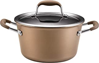 Anolon 82258 Advanced  Hard Anodized Nonstick Sauce Pan/Saucepan with Lid, 4.5 Quart, Brown